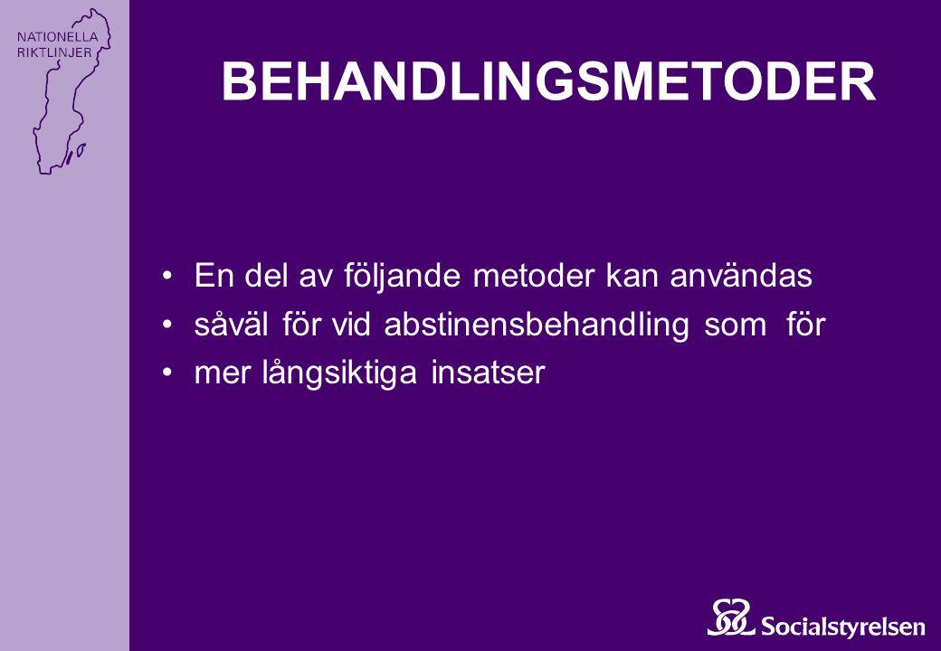 BEHANDLINGSMETODER En del av följande metoder kan användas