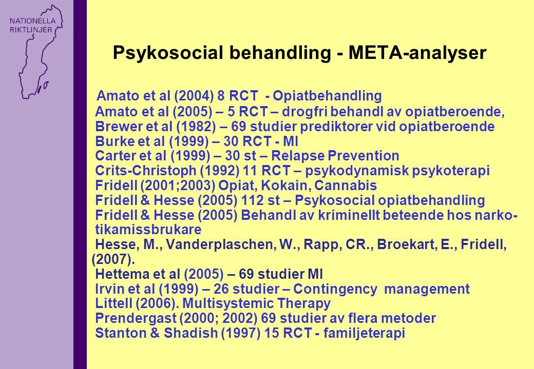 Psykosocial behandling - META-analyser Amato et al (2004) 8 RCT - Opiatbehandling Amato et al (2005) – 5 RCT – drogfri behandl av opiatberoende, Brewer et al (1982) – 69 studier prediktorer vid opiatberoende Burke et al (1999) – 30 RCT - MI Carter et al (1999) – 30 st – Relapse Prevention Crits-Christoph (1992) 11 RCT – psykodynamisk psykoterapi Fridell (2001;2003) Opiat, Kokain, Cannabis Fridell & Hesse (2005) 112 st – Psykosocial opiatbehandling Fridell & Hesse (2005) Behandl av kriminellt beteende hos narko- tikamissbrukare Hesse, M., Vanderplaschen, W., Rapp, CR., Broekart, E., Fridell, (2007).
