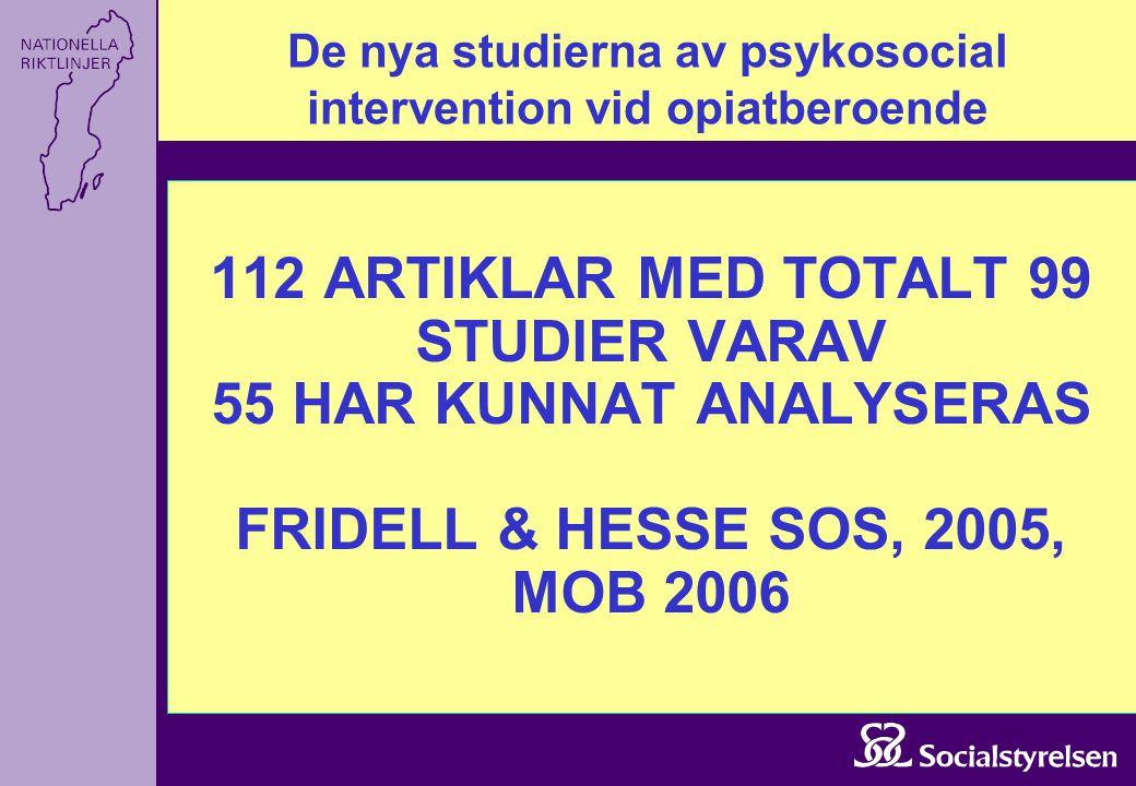 De nya studierna av psykosocial intervention vid opiatberoende