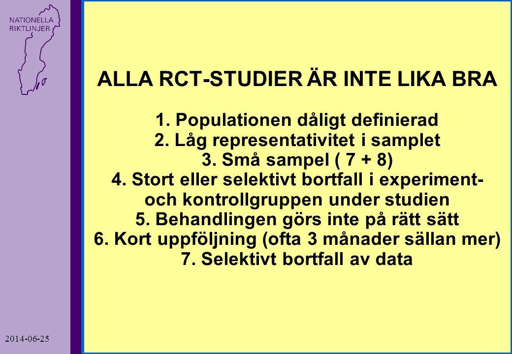ALLA RCT-STUDIER ÄR INTE LIKA BRA 1. Populationen dåligt definierad 2