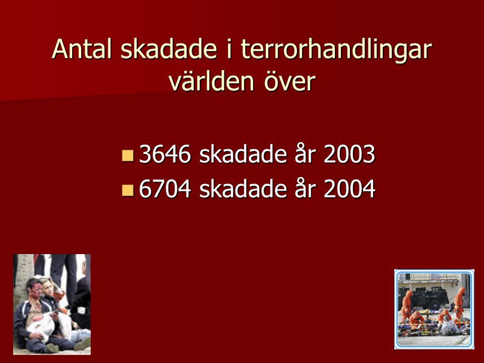 Antal skadade i terrorhandlingar världen över