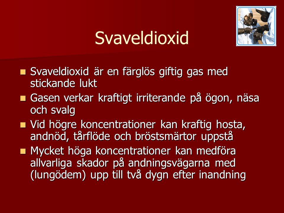 Svaveldioxid Svaveldioxid är en färglös giftig gas med stickande lukt