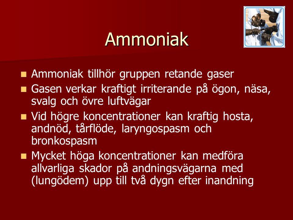 Ammoniak Ammoniak tillhör gruppen retande gaser