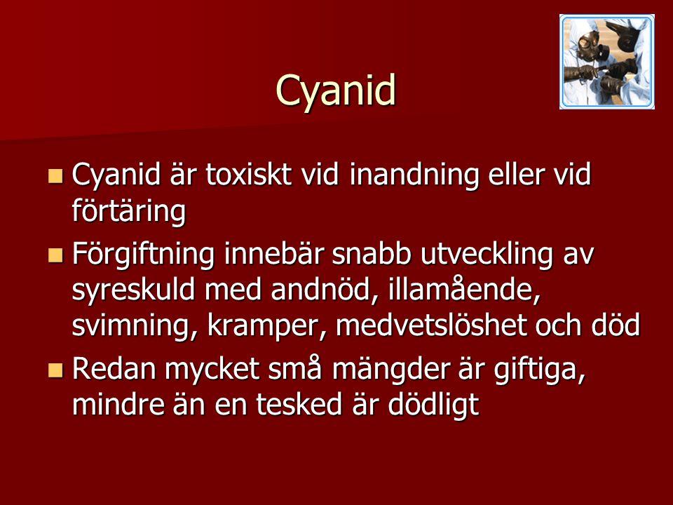 Cyanid Cyanid är toxiskt vid inandning eller vid förtäring