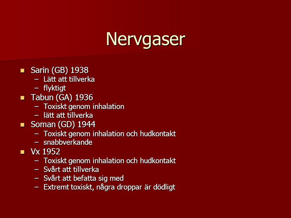 Nervgaser Sarin (GB) 1938 Tabun (GA) 1936 Soman (GD) 1944 Vx 1952