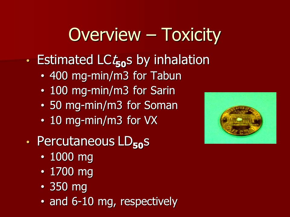 Overview – Toxicity Estimated LCt50s by inhalation Percutaneous LD50s