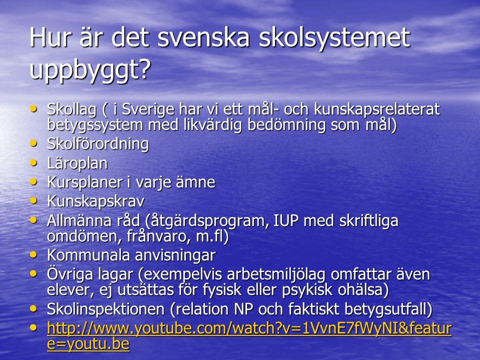 Hur är det svenska skolsystemet uppbyggt