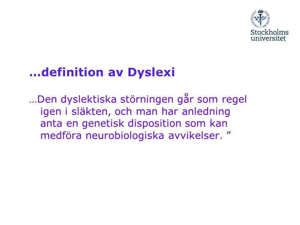…definition av Dyslexi