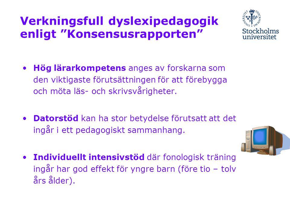 Verkningsfull dyslexipedagogik enligt Konsensusrapporten