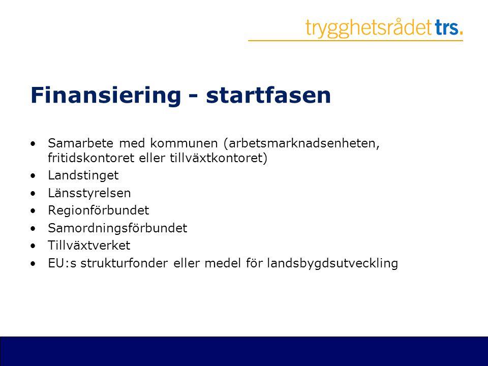Finansiering - startfasen