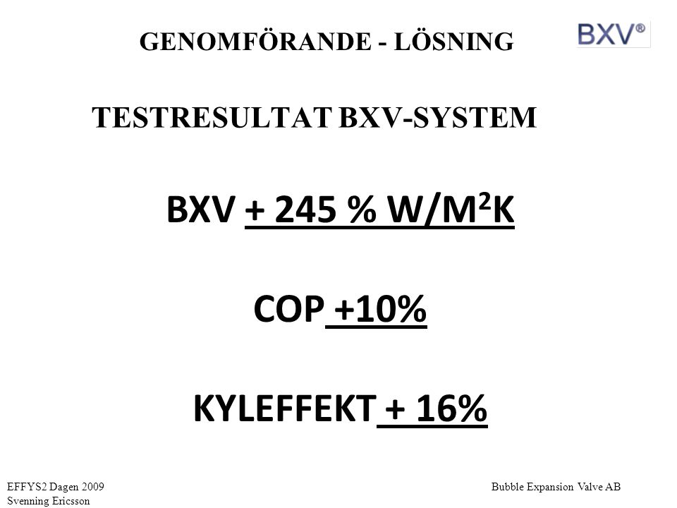 TESTRESULTAT BXV-SYSTEM
