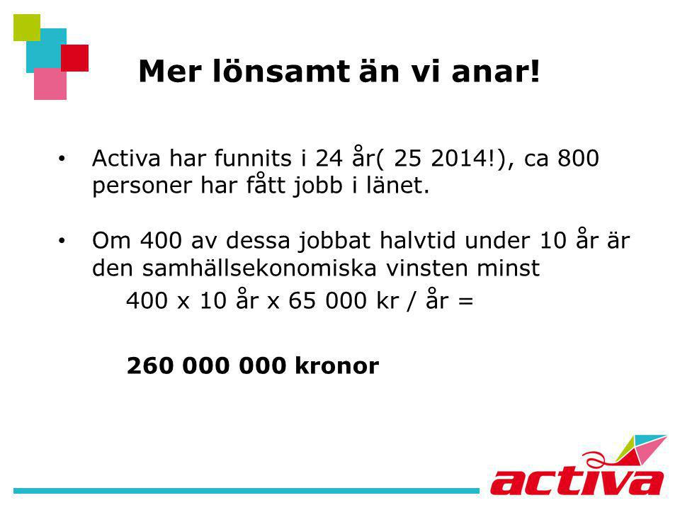 Mer lönsamt än vi anar! Activa har funnits i 24 år( 25 2014!), ca 800 personer har fått jobb i länet.