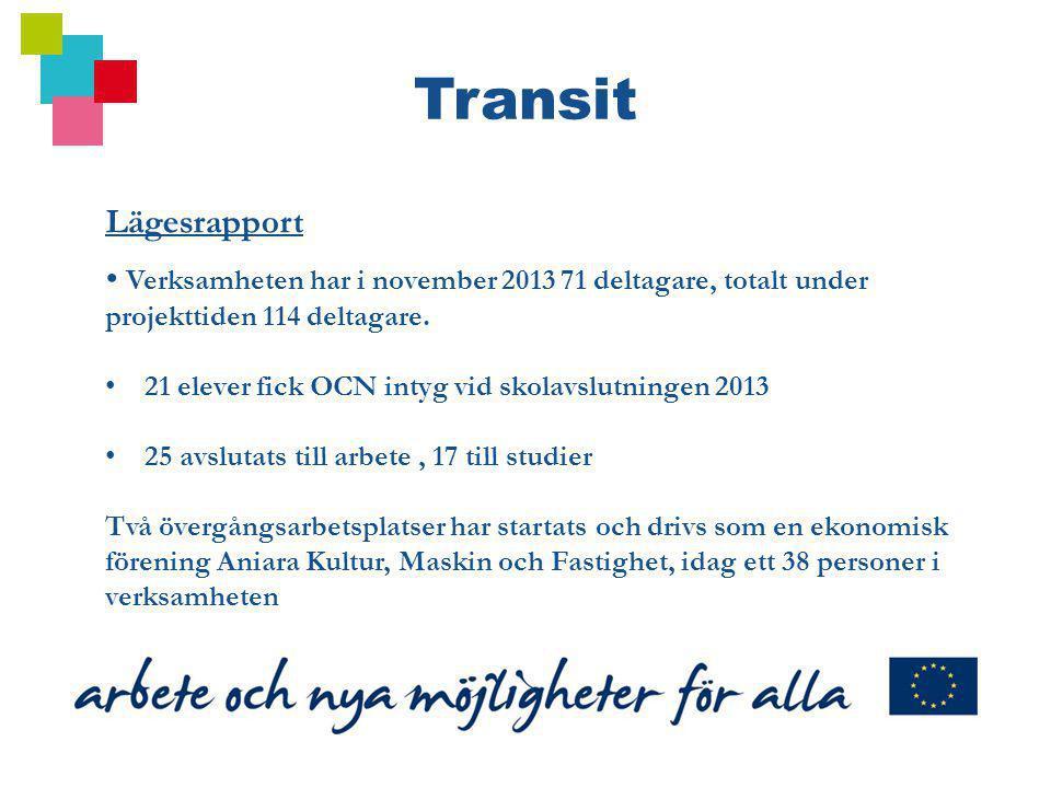 Transit Lägesrapport. Verksamheten har i november 2013 71 deltagare, totalt under projekttiden 114 deltagare.