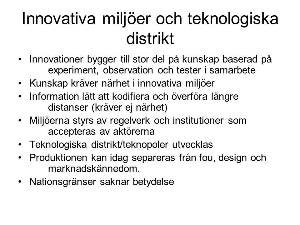Innovativa miljöer och teknologiska distrikt