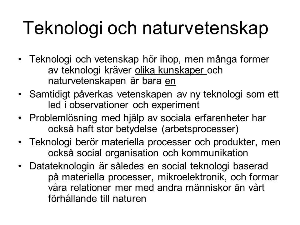 Teknologi och naturvetenskap