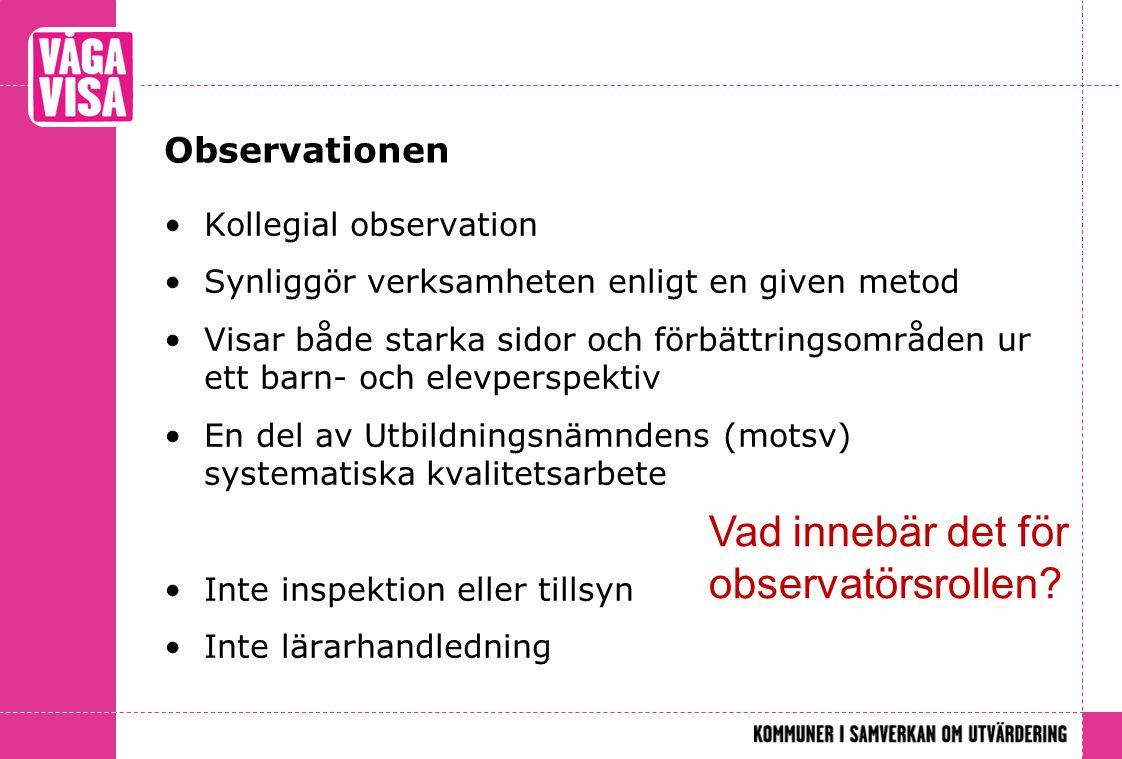 Vad innebär det för observatörsrollen