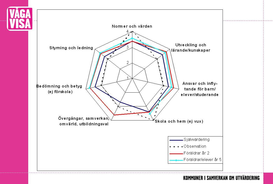 Eva. Sammanställning av de olika mätverktygen görs i ett spindeldiagram.