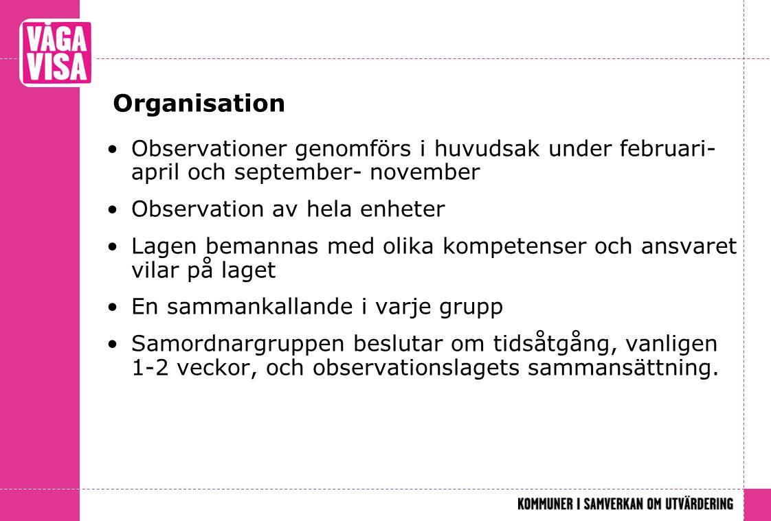 Organisation Observationer genomförs i huvudsak under februari-april och september- november. Observation av hela enheter.