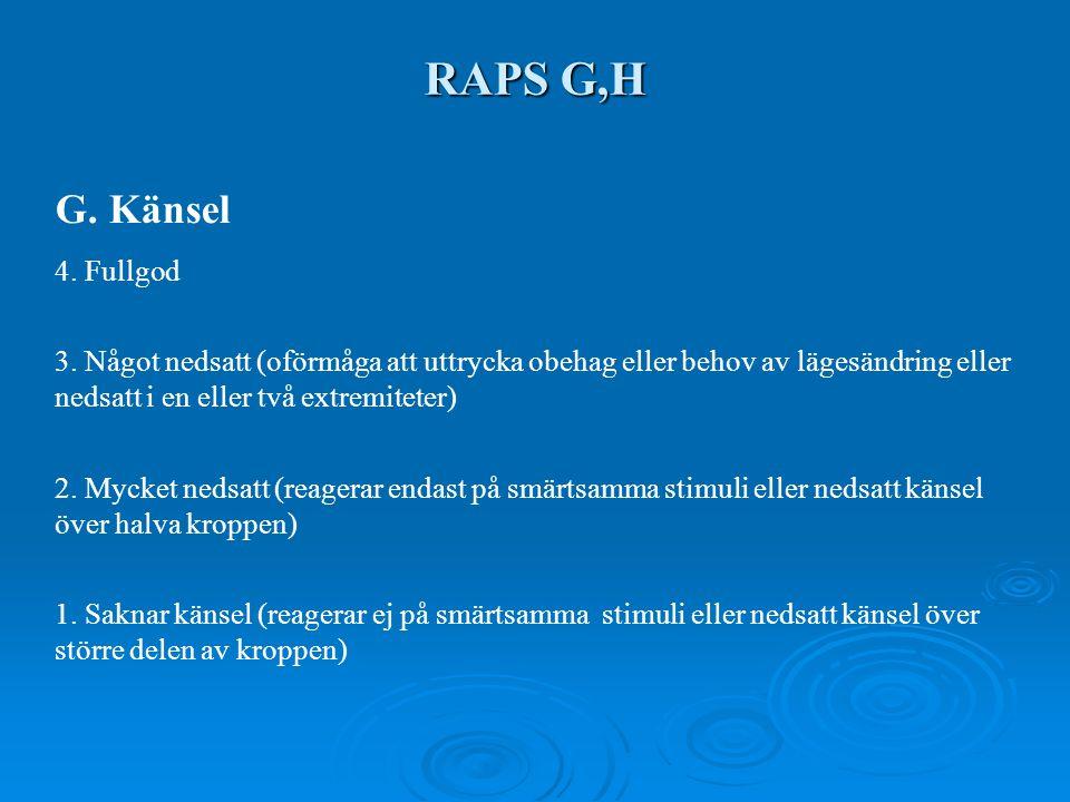 RAPS G,H G. Känsel 4. Fullgod