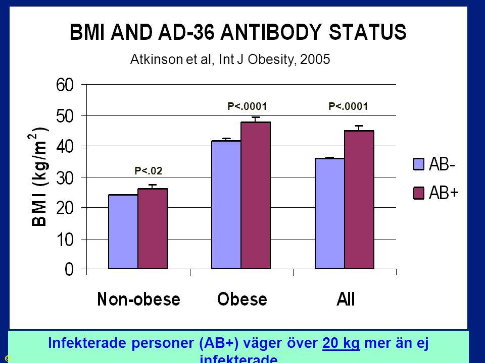 Infekterade personer (AB+) väger över 20 kg mer än ej infekterade
