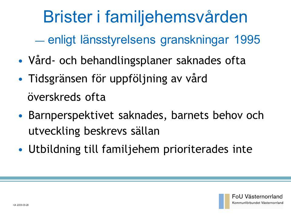 Brister i familjehemsvården — enligt länsstyrelsens granskningar 1995