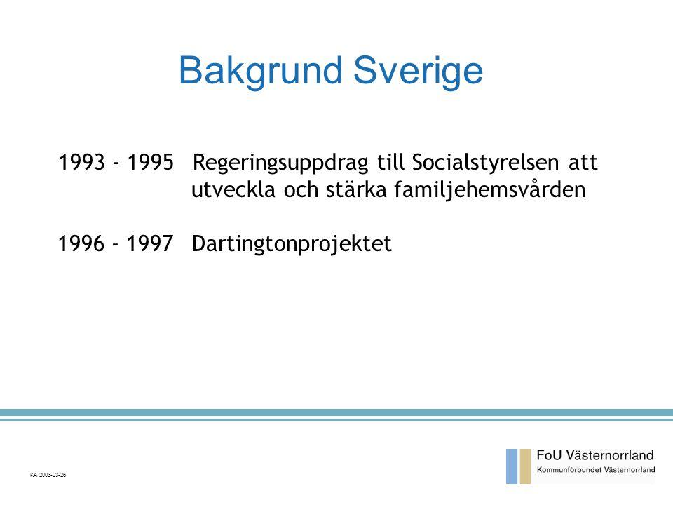 Bakgrund Sverige 1993 - 1995 Regeringsuppdrag till Socialstyrelsen att utveckla och stärka familjehemsvården.