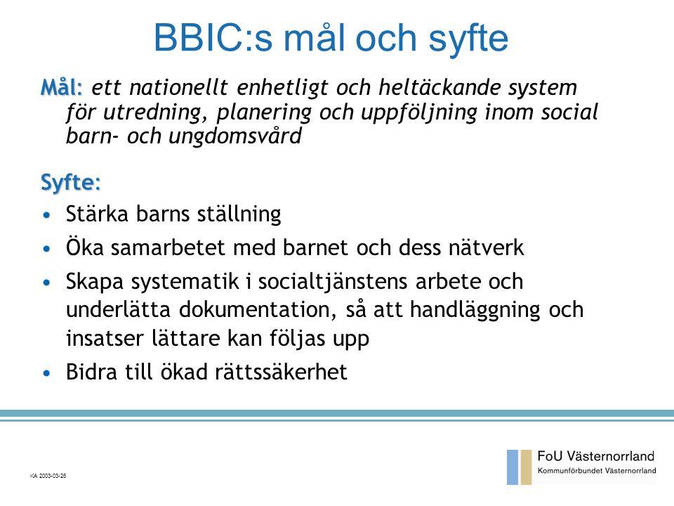 BBIC:s mål och syfte Mål: ett nationellt enhetligt och heltäckande system för utredning, planering och uppföljning inom social barn- och ungdomsvård.