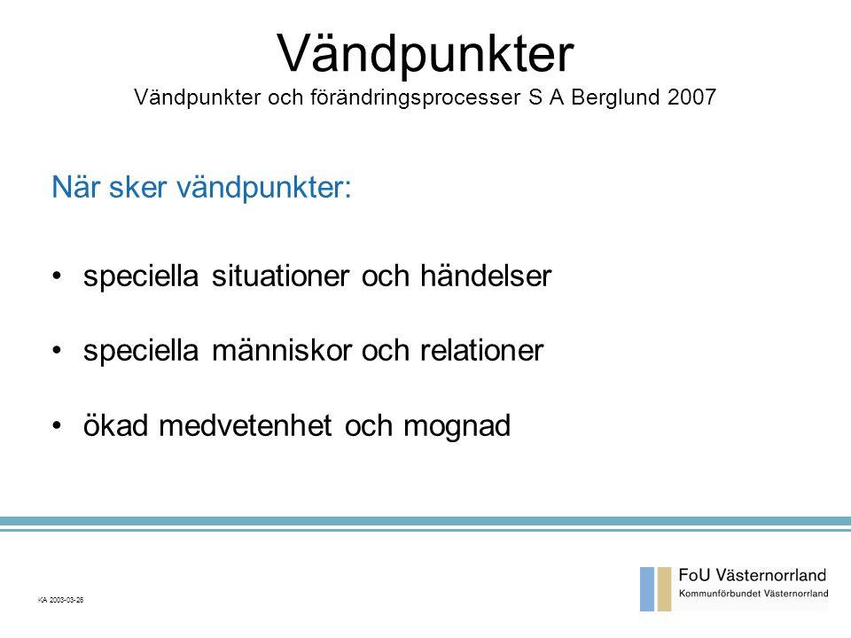 Vändpunkter Vändpunkter och förändringsprocesser S A Berglund 2007
