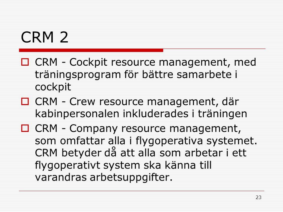 CRM 2 CRM - Cockpit resource management, med träningsprogram för bättre samarbete i cockpit.