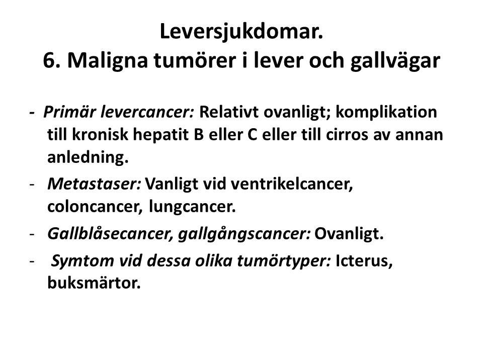 Leversjukdomar. 6. Maligna tumörer i lever och gallvägar