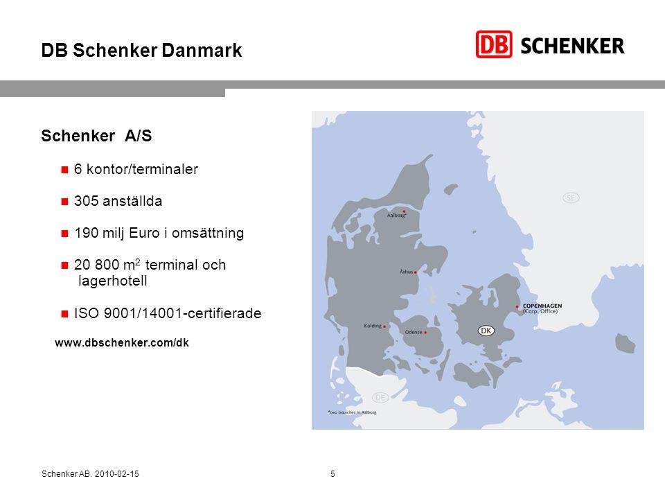 DB Schenker Danmark Schenker A/S 6 kontor/terminaler 305 anställda