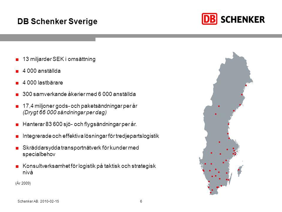 DB Schenker Sverige 13 miljarder SEK i omsättning 4 000 anställda