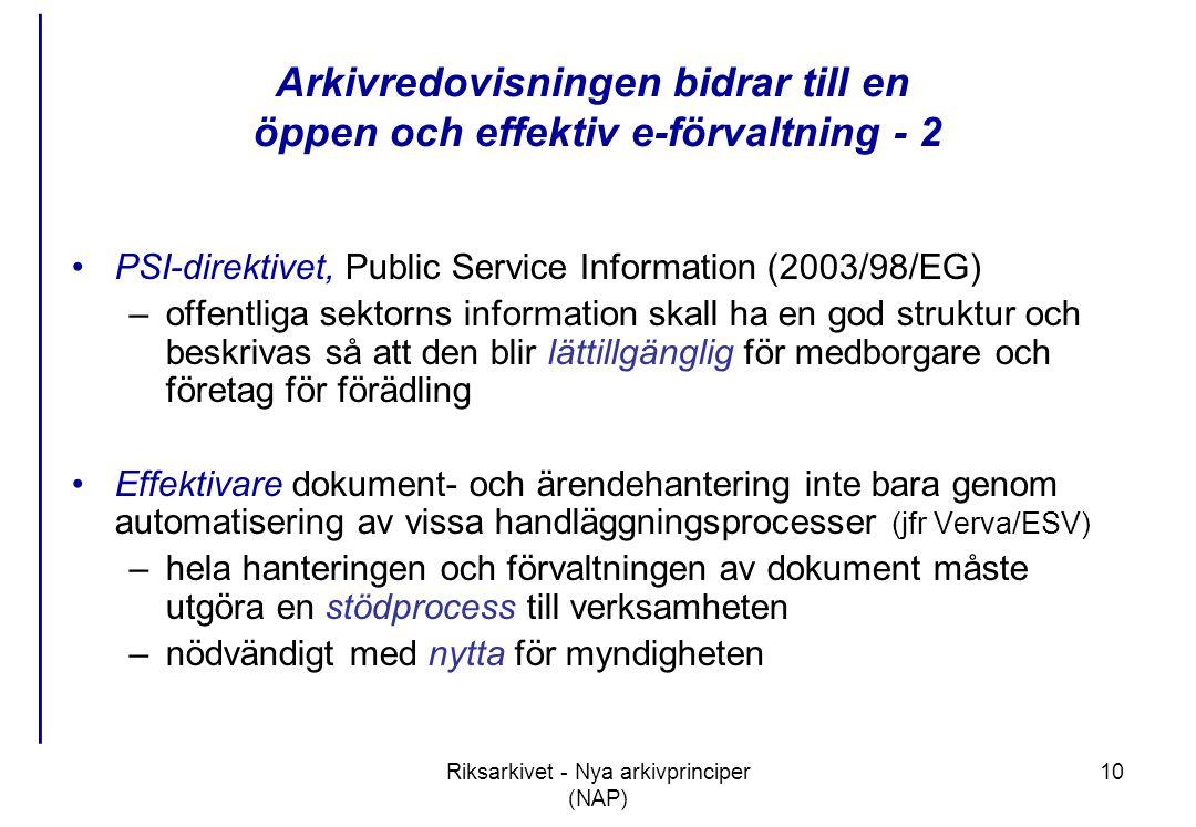 Arkivredovisningen bidrar till en öppen och effektiv e-förvaltning - 2