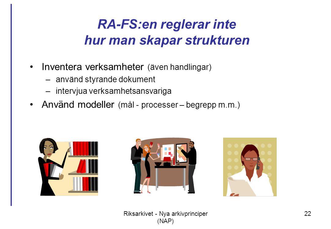 RA-FS:en reglerar inte hur man skapar strukturen