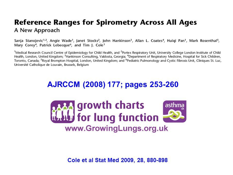 AJRCCM (2008) 177; pages 253-260 Cole et al Stat Med 2009, 28, 880-898