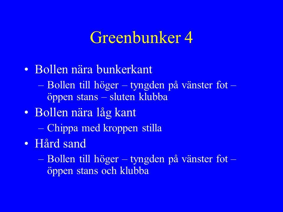 Greenbunker 4 Bollen nära bunkerkant Bollen nära låg kant Hård sand