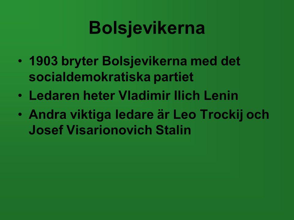 Bolsjevikerna 1903 bryter Bolsjevikerna med det socialdemokratiska partiet. Ledaren heter Vladimir Ilich Lenin.