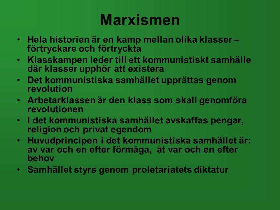 Marxismen Hela historien är en kamp mellan olika klasser – förtryckare och förtryckta.