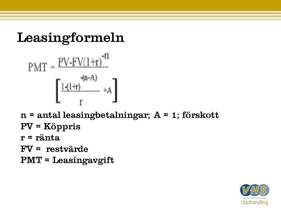 Leasingformeln n = antal leasingbetalningar; A = 1; förskott