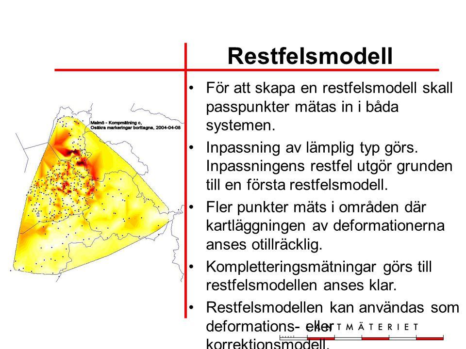 Restfelsmodell För att skapa en restfelsmodell skall passpunkter mätas in i båda systemen.