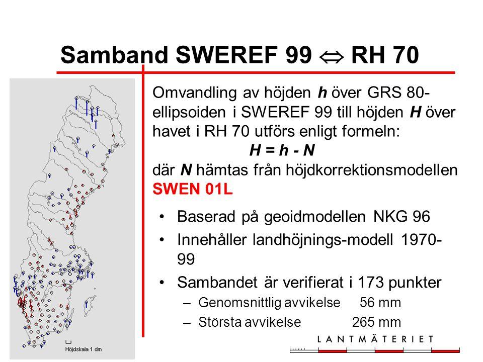 Samband SWEREF 99  RH 70 Omvandling av höjden h över GRS 80-ellipsoiden i SWEREF 99 till höjden H över havet i RH 70 utförs enligt formeln: