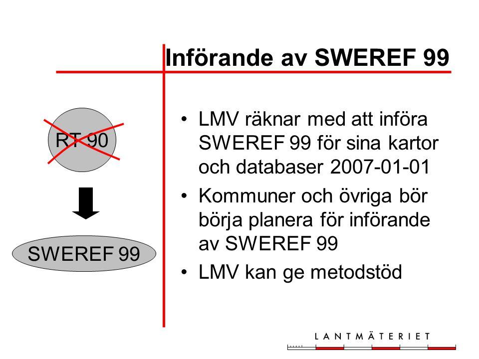 Införande av SWEREF 99 LMV räknar med att införa SWEREF 99 för sina kartor och databaser 2007-01-01.