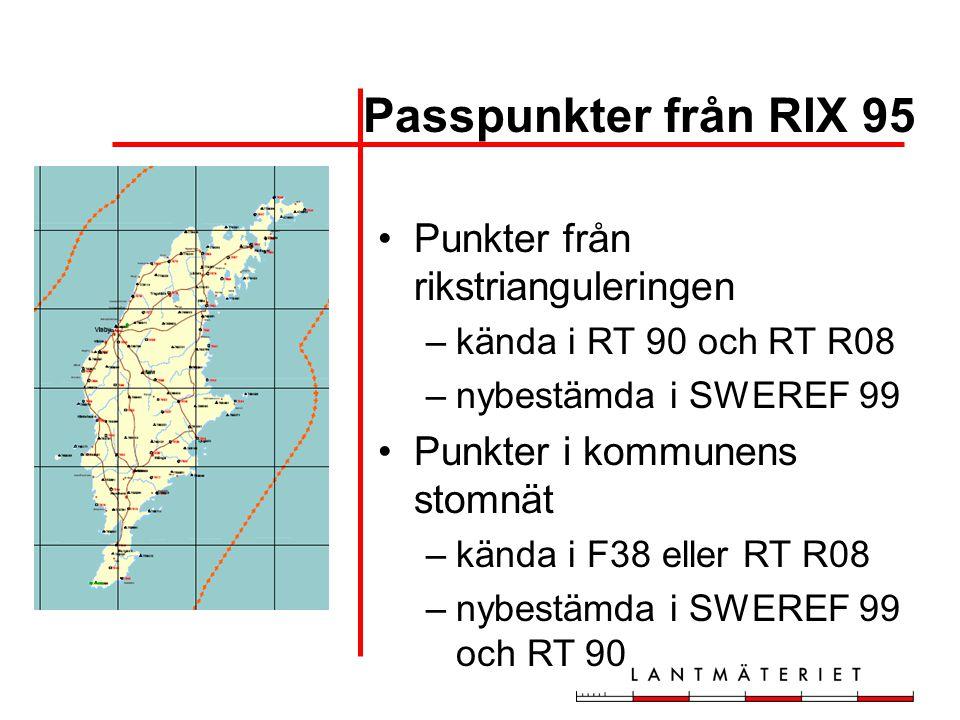 Passpunkter från RIX 95 Punkter från rikstrianguleringen