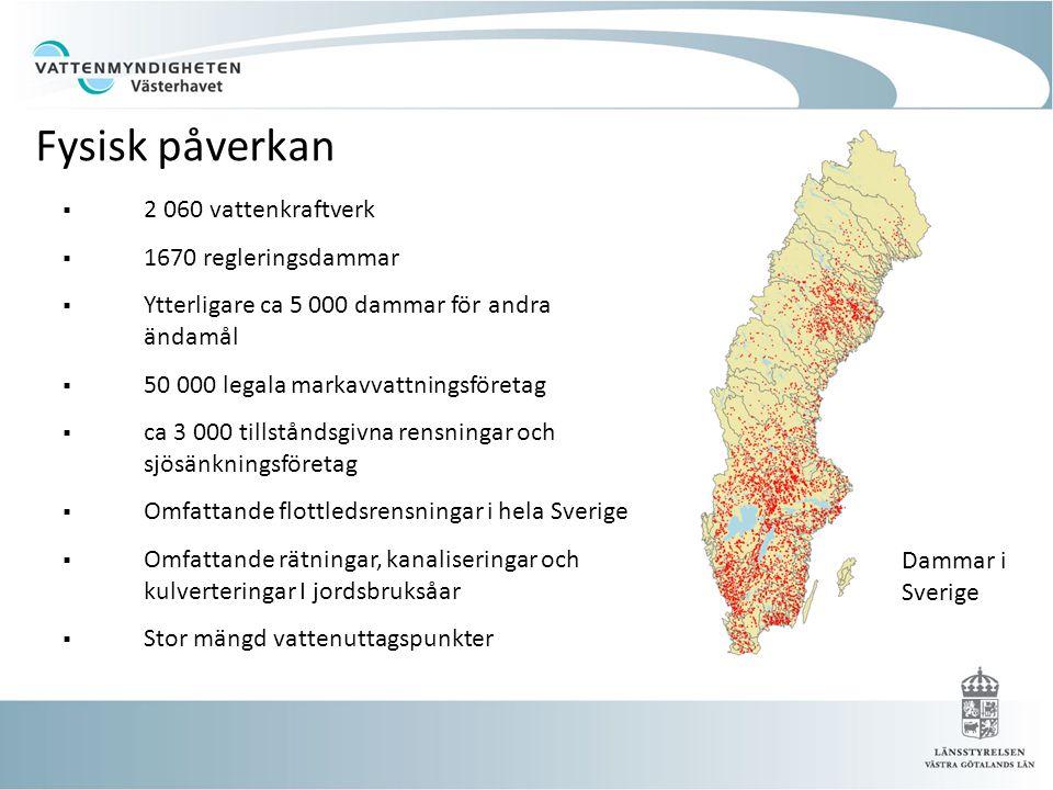 Fysisk påverkan 2 060 vattenkraftverk 1670 regleringsdammar