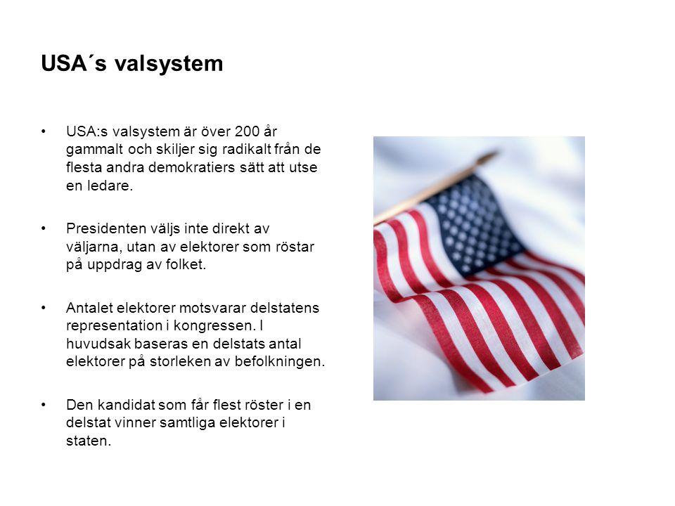 USA´s valsystem USA:s valsystem är över 200 år gammalt och skiljer sig radikalt från de flesta andra demokratiers sätt att utse en ledare.