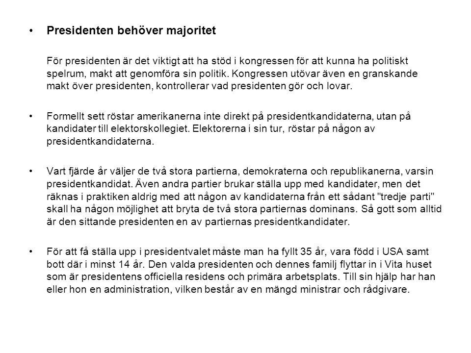 Presidenten behöver majoritet