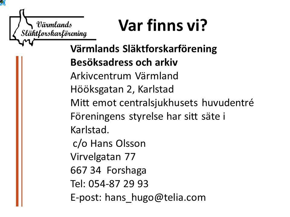 Var finns vi Värmlands Släktforskarförening