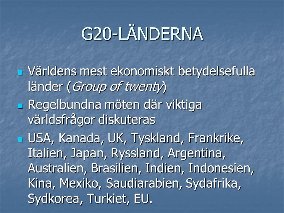 G20-LÄNDERNA Världens mest ekonomiskt betydelsefulla länder (Group of twenty) Regelbundna möten där viktiga världsfrågor diskuteras.