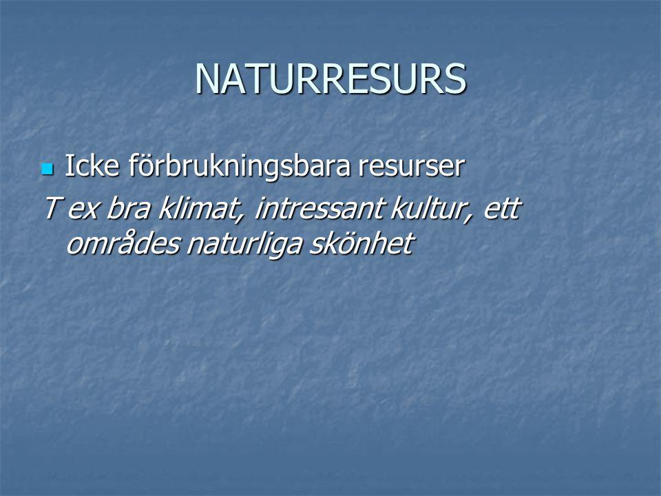 NATURRESURS Icke förbrukningsbara resurser