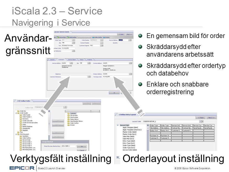 iScala 2.3 – Service Navigering i Service